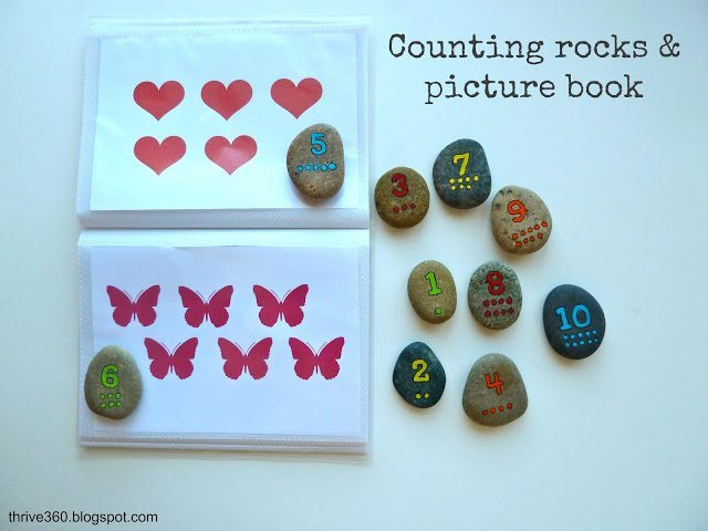 number rocks and matching book