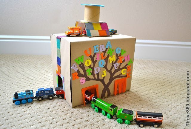 Turn a Cardboard Box into a Train & Car Tunnel • Color Made Happy