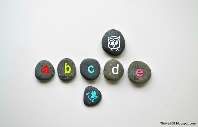 lowercase alphabet rocks for learning