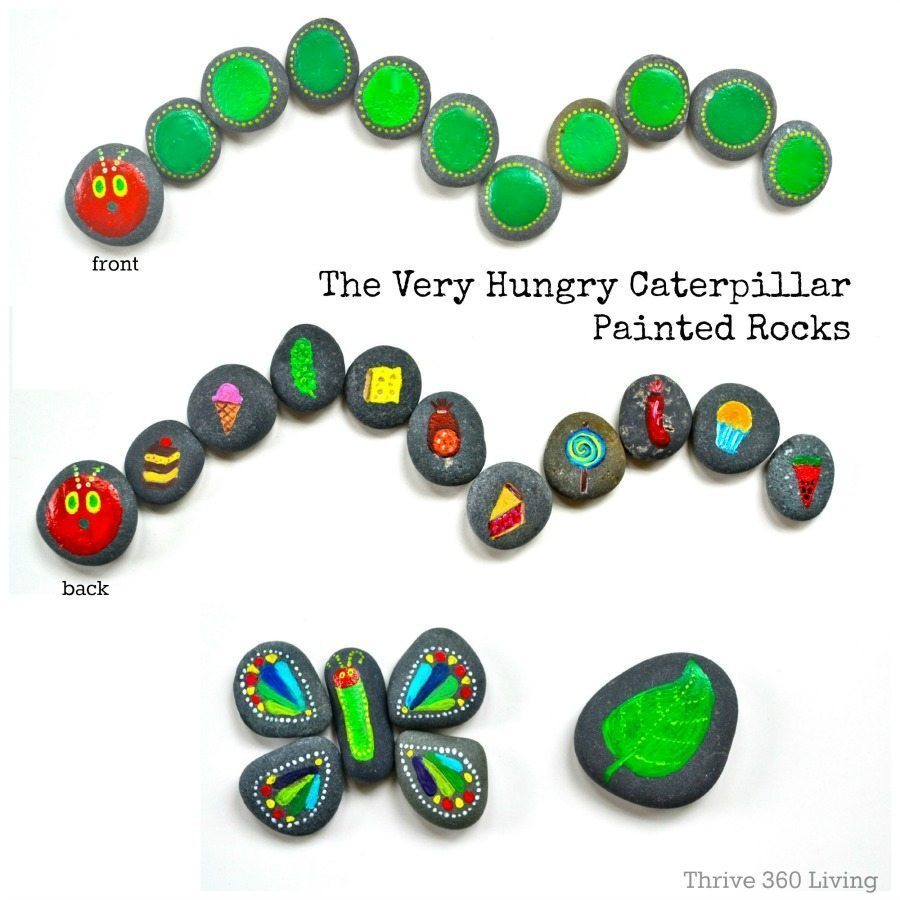 the very hungry caterpillar painted rocks u2022 color made happy