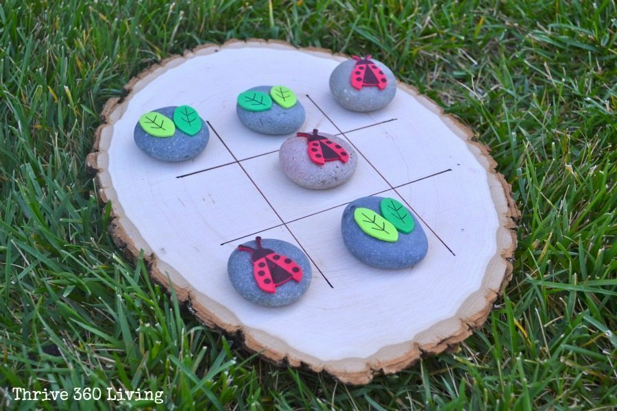 Garden tic tac toe color made happy for Crafts made from rocks