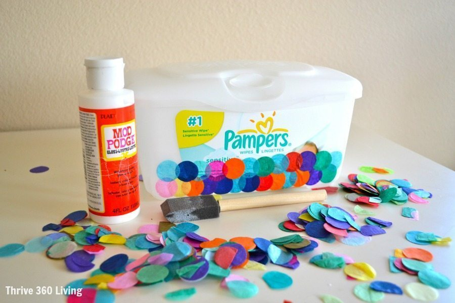 Diy confetti covered storage color made happy for Confetti dipped balloons