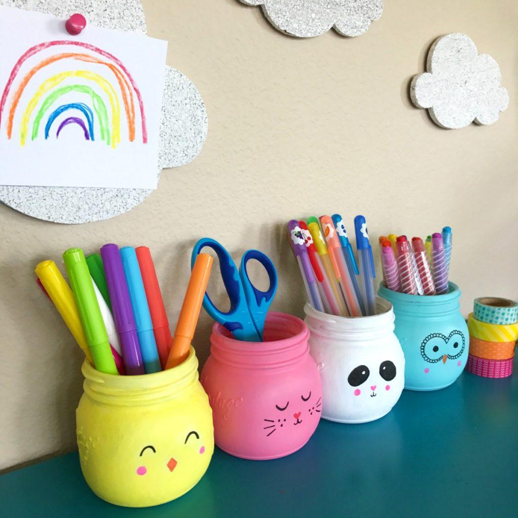 Hand Painted mason jars for desk organization