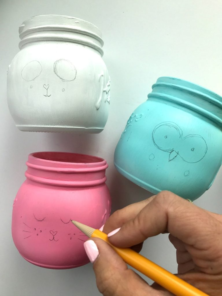 Outline the details of mason jars in pencil first