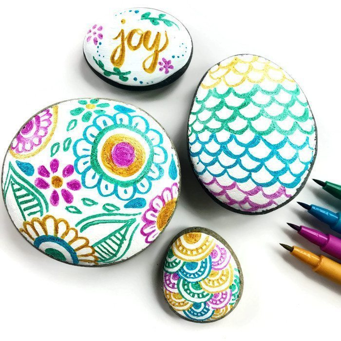 Hand Painted doodle rocks