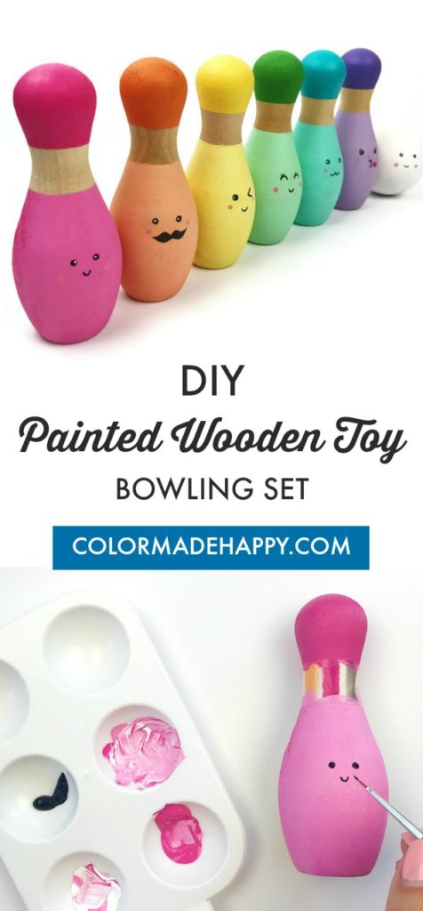DIY Painted Wooden Bowling Pin Set