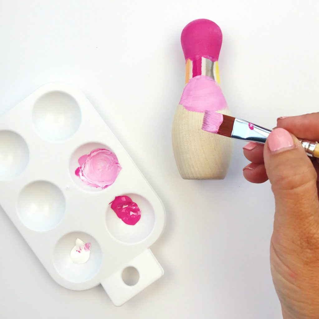 DIY Painted Wooden Toy Bowling Set