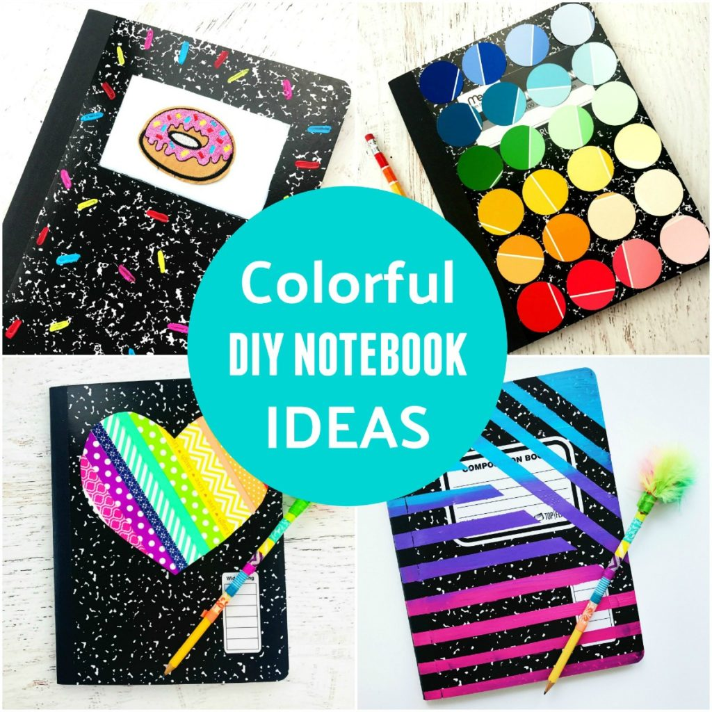 Diy notebook ideas back to school supplies color made for Back to school notebook decoration ideas