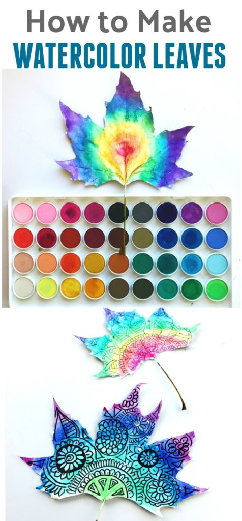 how to make watercolor leaf art color made happy