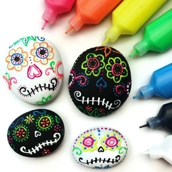Sugar Skull Rocks Using Puffy Paint