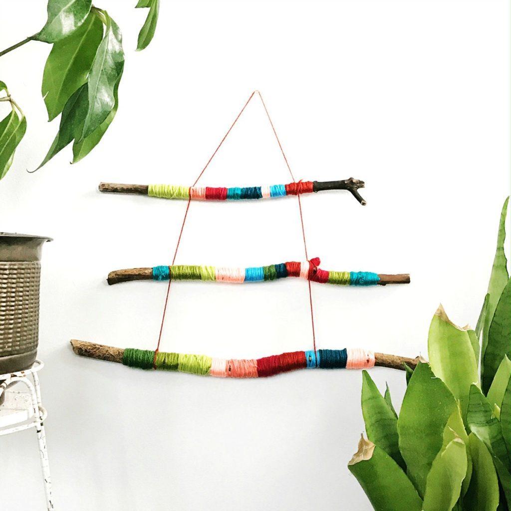 Yarn Wrapped Stick Wall Hanging