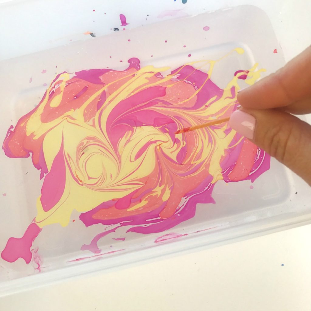 Pumpkin marbling using nail polish