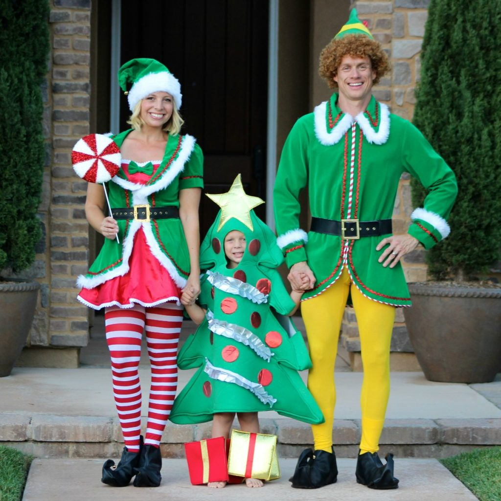 Dress as Christmas for Halloween! Such a fun family halloween costume idea.