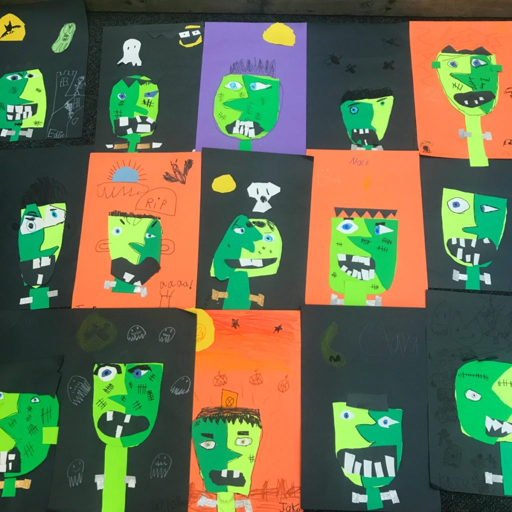 Picasso Inspired Frankenstein Halloween Kids Craft