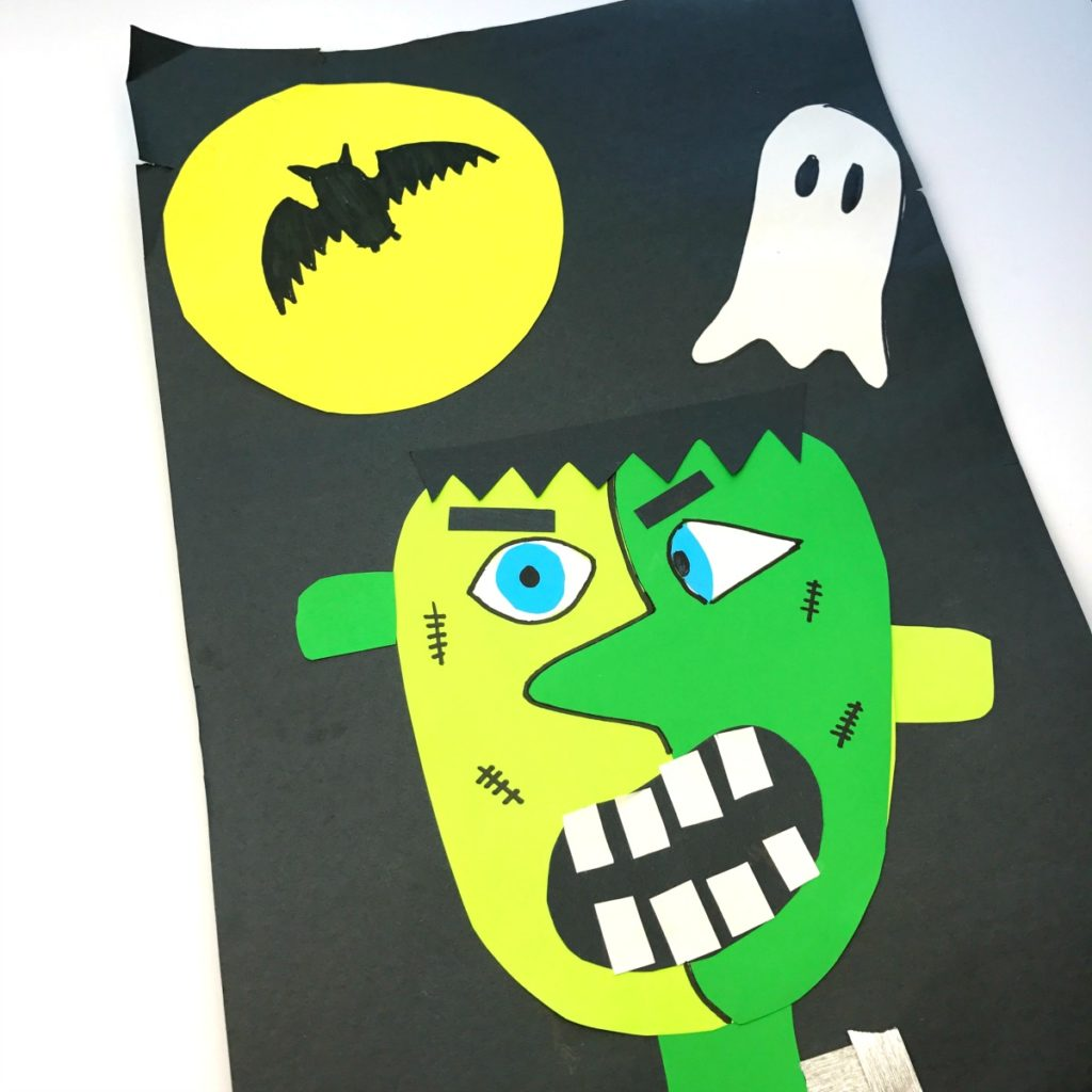 Picasso Inspired Frankenstein Halloween Craft for Kids