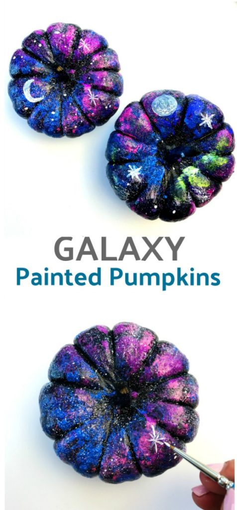 How to make galaxy painted pumpkins for Halloween.