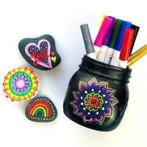 Mandala doodle jar and doodle rocks