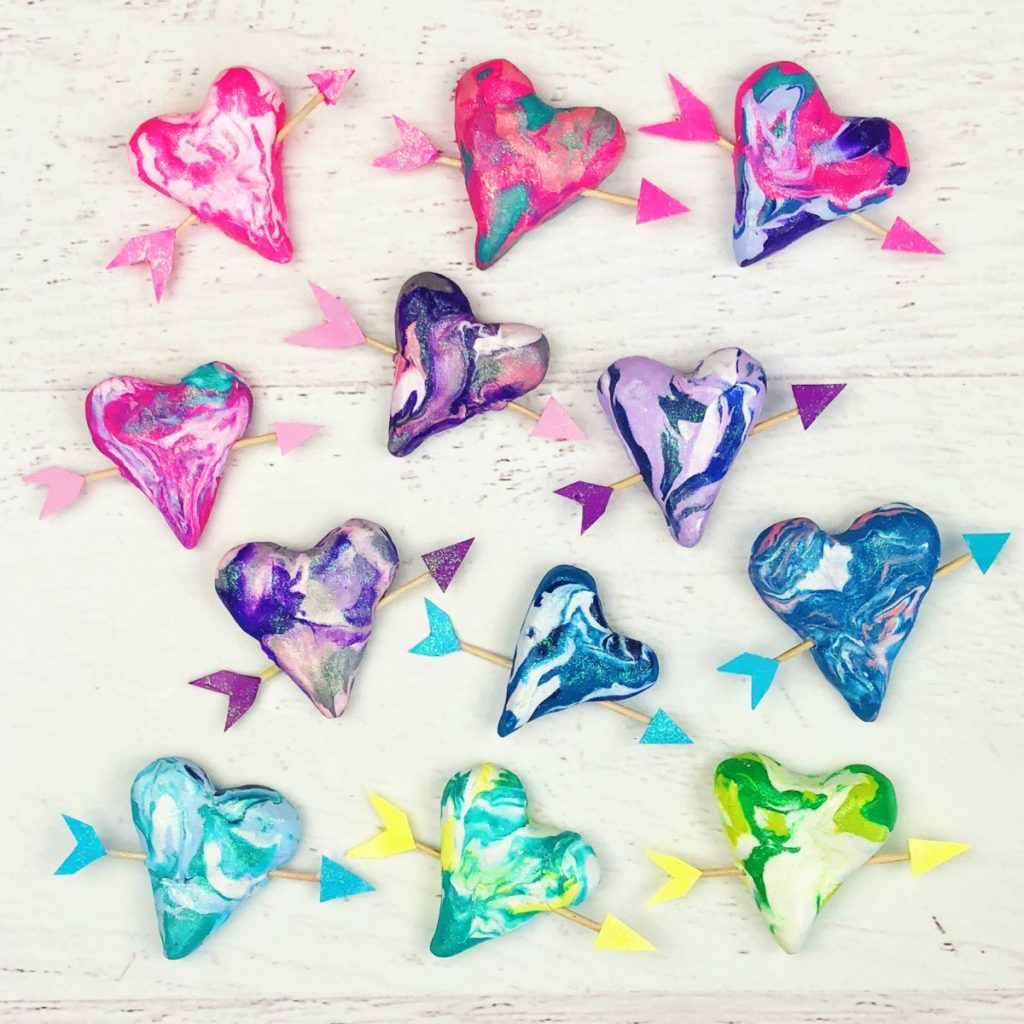 Polymer Clay Marble Hearts