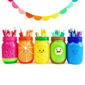 Rainbow Fruit Mason Jar Craft Pen Holders
