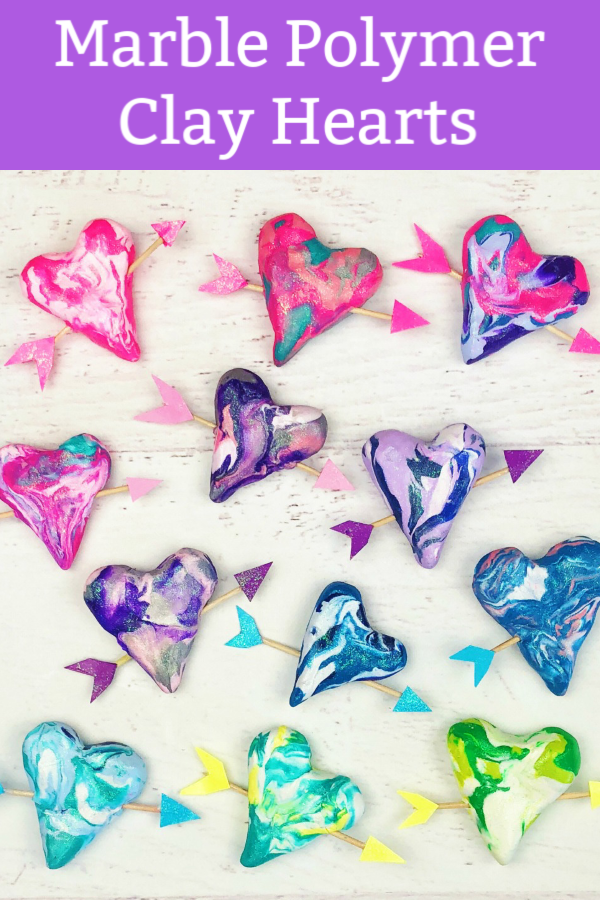Marble Polymer Clay Hearts