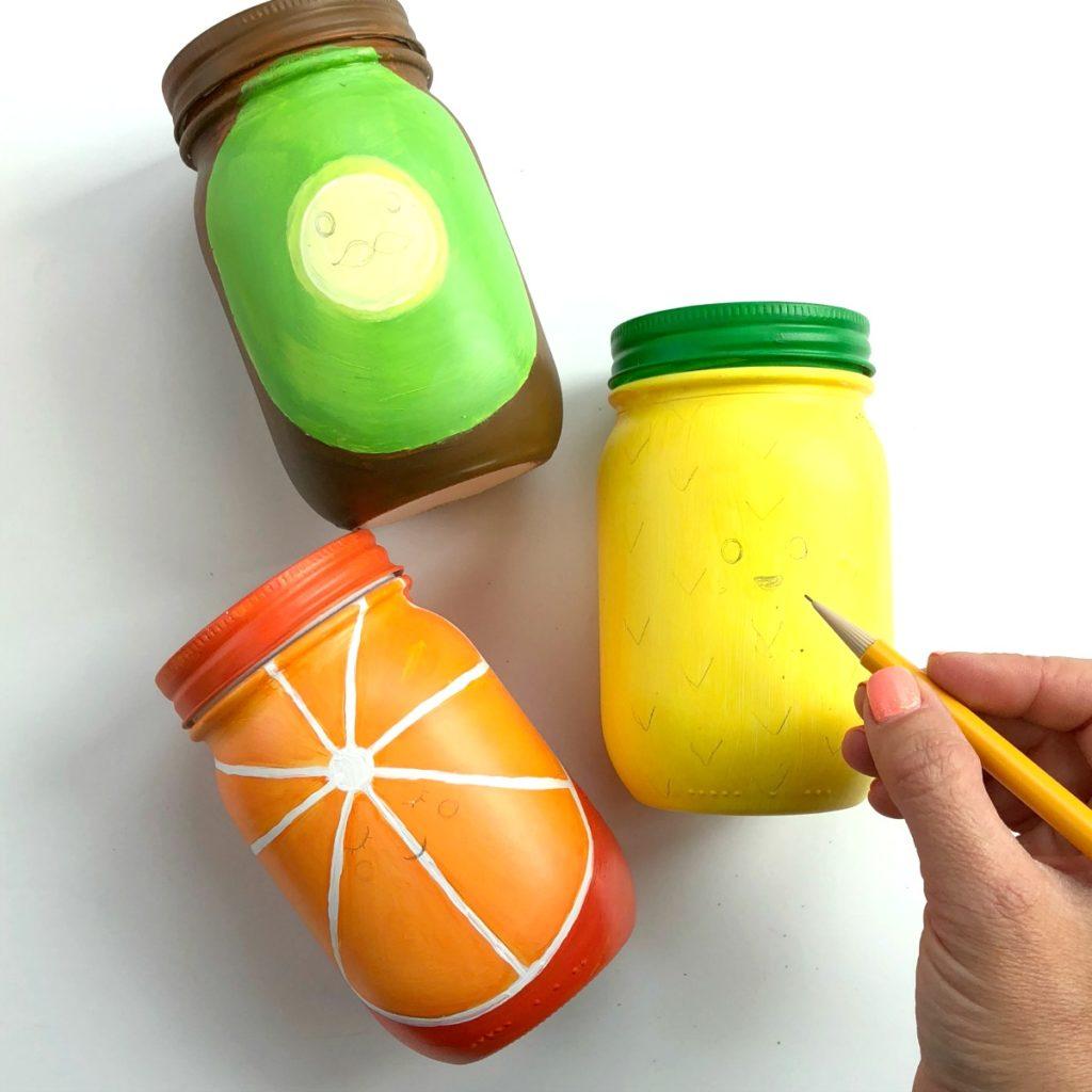 Rainbow Fruit Mason Jar Craft Pen Holder