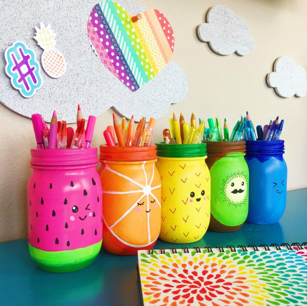 Rainbow Fruit Mason Jar Craft Pen Holder