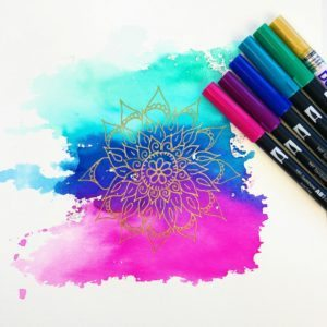 How to Make a Watercolor Mandala Background Using Tombow Brush Pens thumbnail