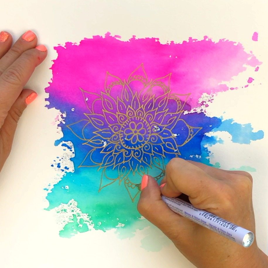 Watercolor Mandala Background Using Tombow Brush Pens