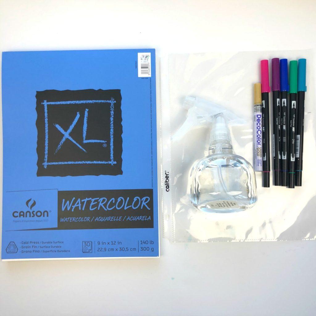 Watercolor Mandala Background Using Tombow Brush Pens