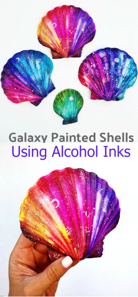 Galaxy Painted Shells Using Alcohol Inks
