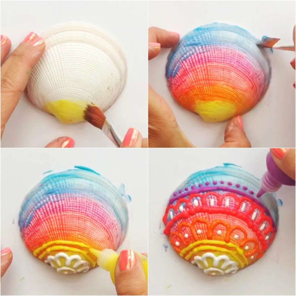 Painted Shells Using Puffy Paint