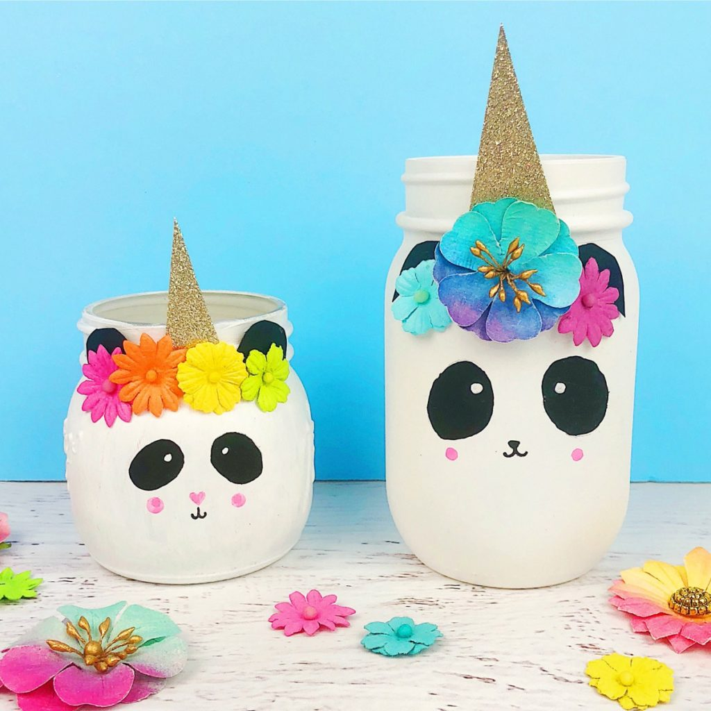 funny craft ideas pandacorn unicorn jar craft color made happy 2070