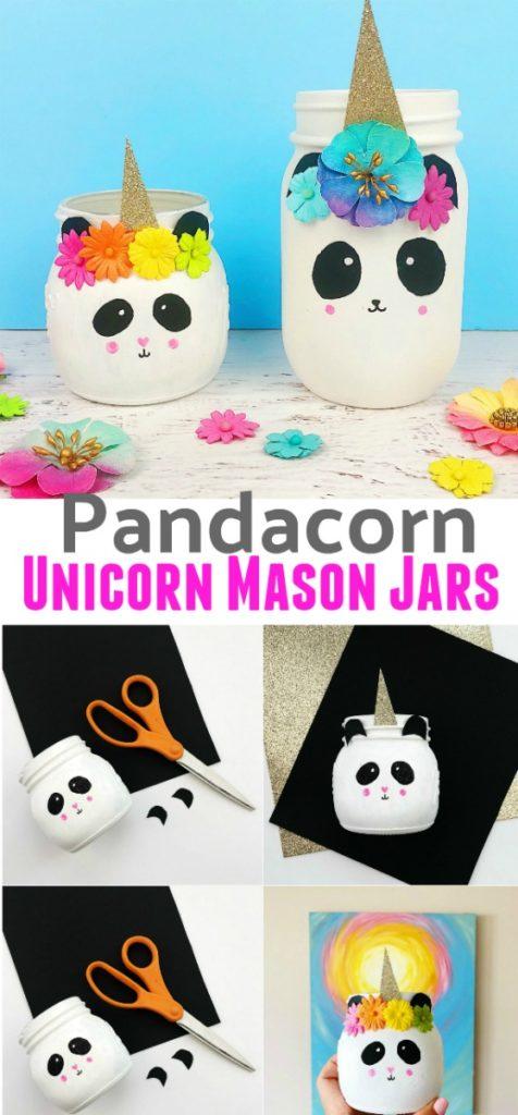 Pandacorn Unicorn Mason Jars