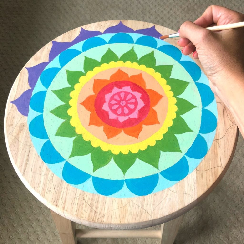 How To Paint A Mandala Wooden Stool Color Made Happy