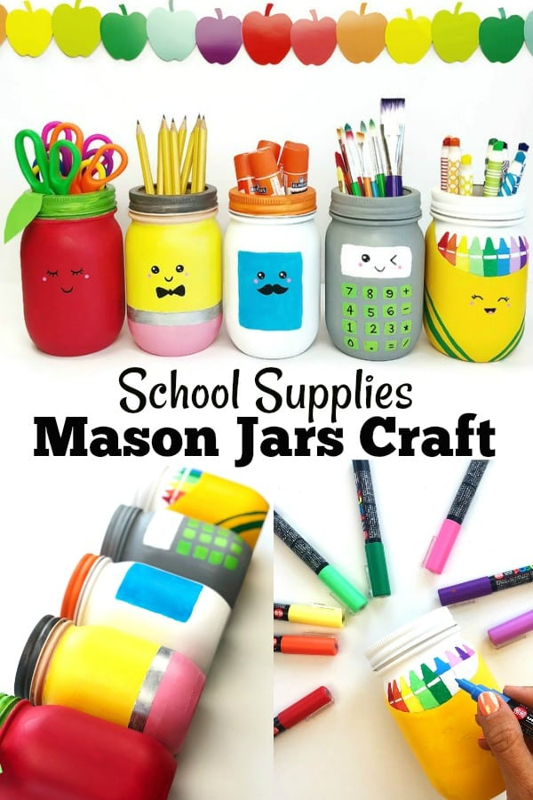 School Supplies Mason Jars Craft - Teacher Appreciation, School Supplies Storage, Teacher Gifts