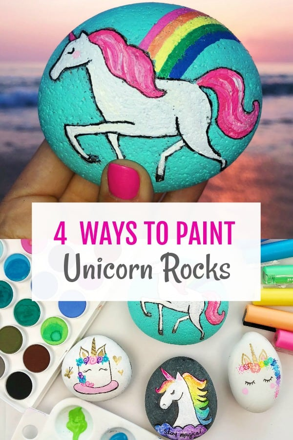 How to Paint Unicorn Rocks - 4 unicorn rock tutorials