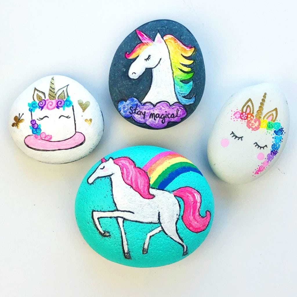Four Different Ways to Paint Unicorn Rocks