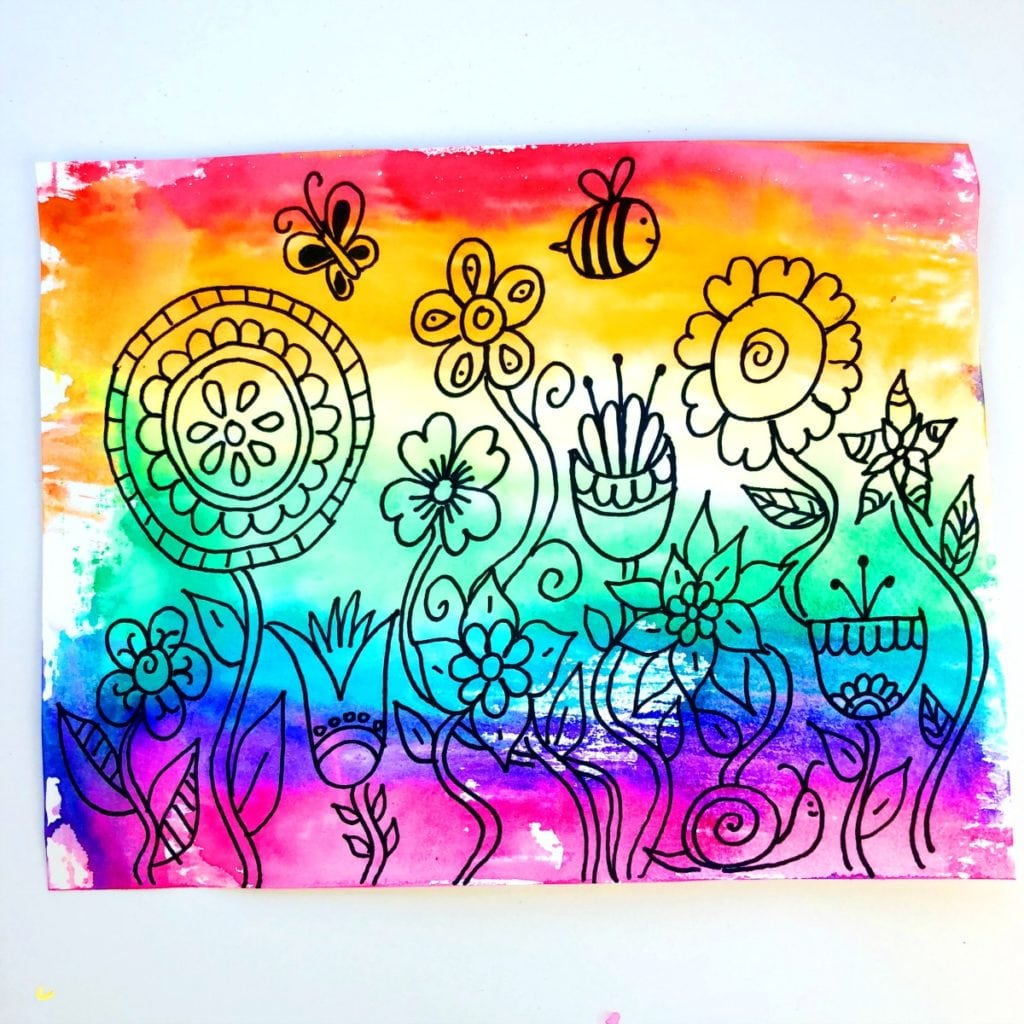 Kids Watercolor Painting with Markers