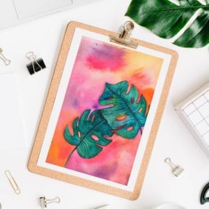 DIY Rainbow Watercolor Painting Monstera Leaves thumbnail