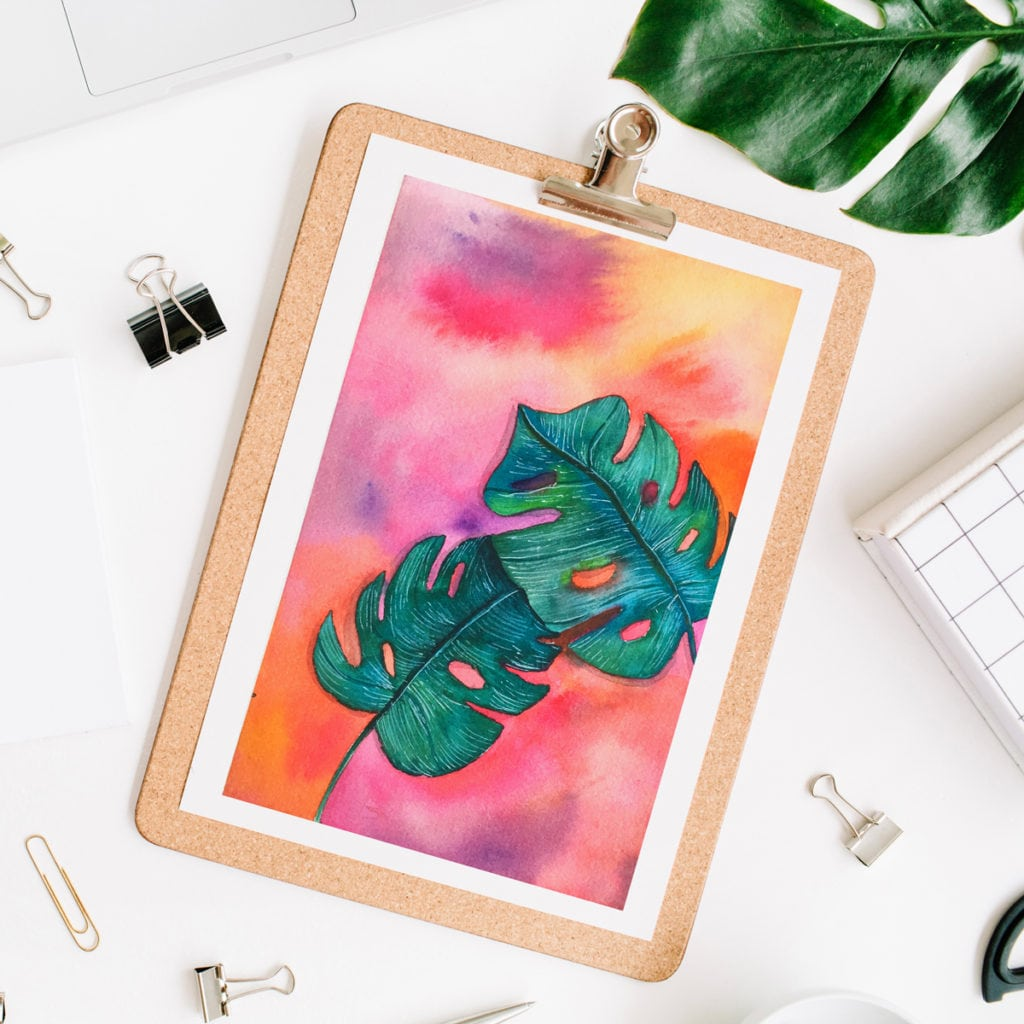 DIY Rainbow Watercolor Painting Monstera Leaves • Color Made Happy