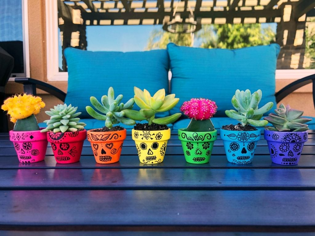 Sugar Skull Painted Flower Pots Craft