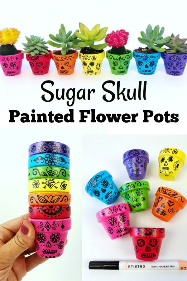 Sugar Skull Painted Flower Pots. Day of the Dead craft.