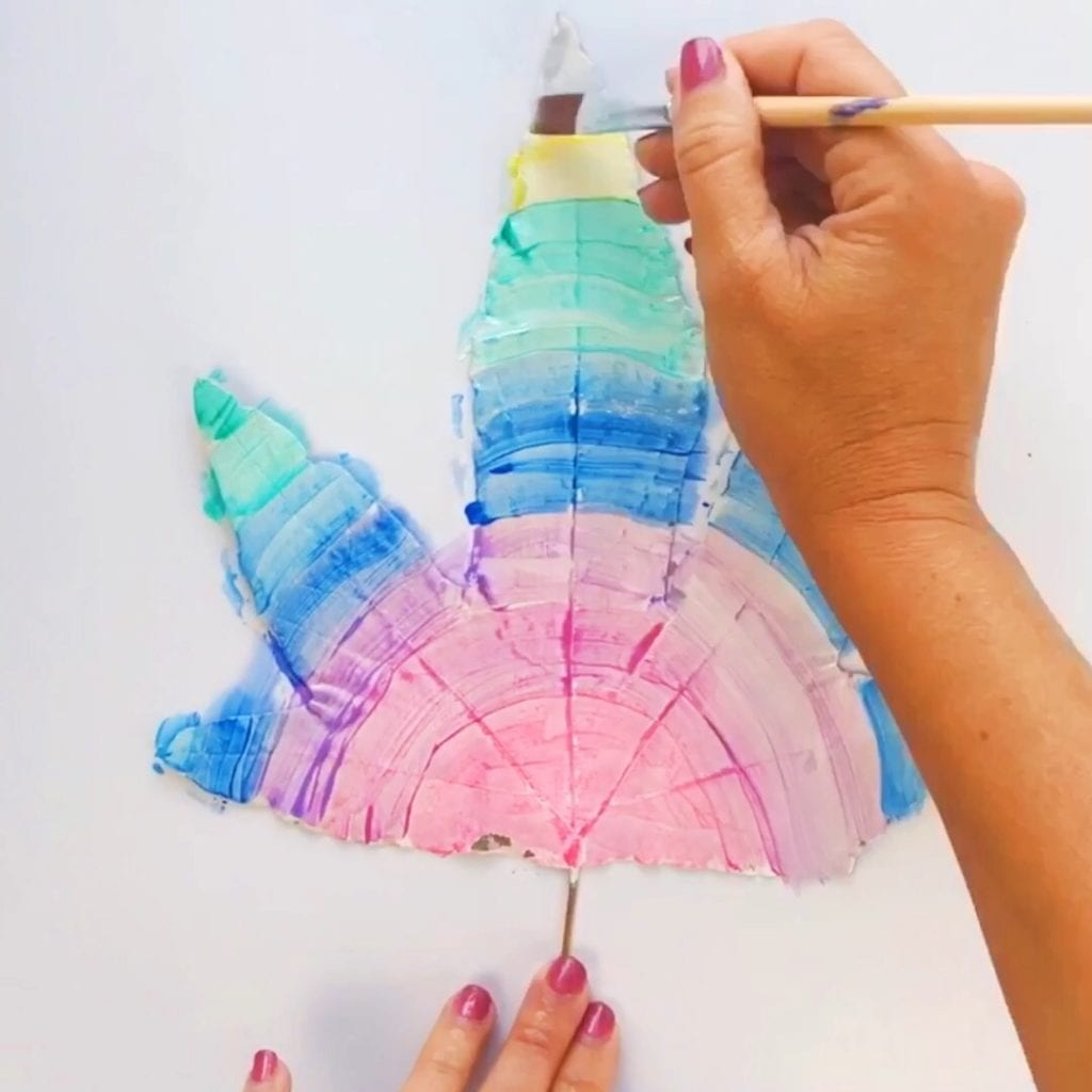 Leaf Painting with Puffy Paints