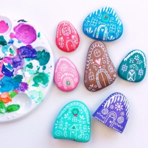 Painted Rock Gingerbread Houses
