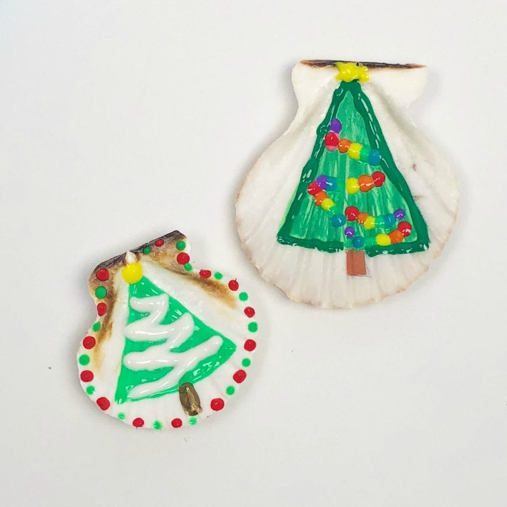 Christmas Painted Shell Ornaments
