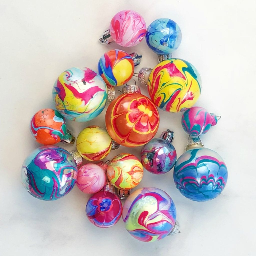Nail Polish Marbled Ornaments