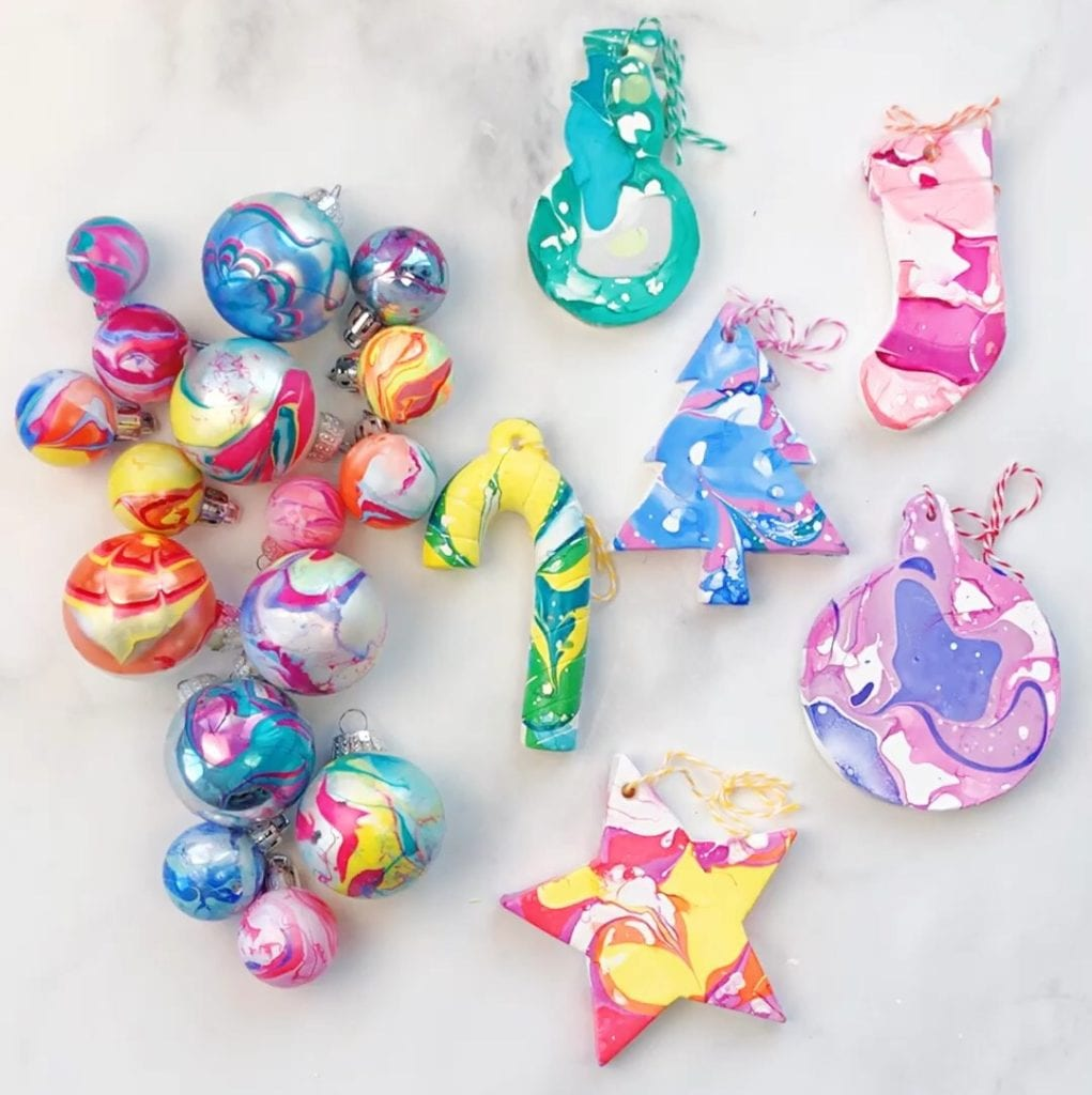 How To Make Nail Polish Marbled Ornaments Color Made Happy