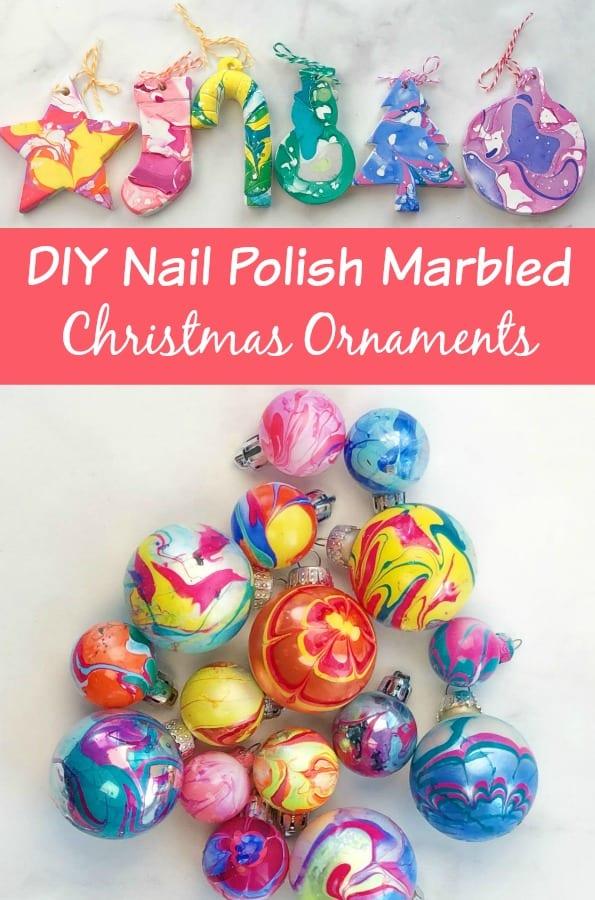 Nail Polish Marbled Ornaments