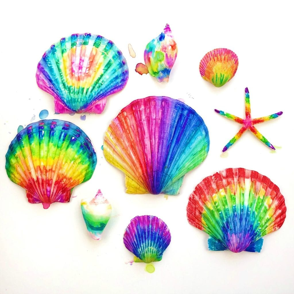 Tie Dye Sharpies on Shells