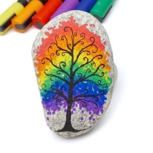 Rainbow Tree Painted Rock Tutorial thumbnail